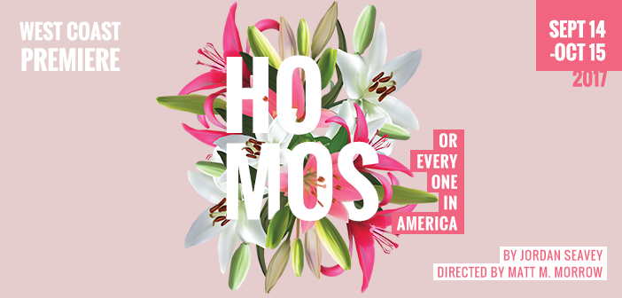 Title Treatment for Homos or Everyone in America, a new play at Diversionary Theatre in San Diego
