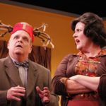 Fred Harlow and Melinda Gilb in She-Rantulas from Outer Space-in3D! at Diversionary Theatre. Photo ©Daren Scott