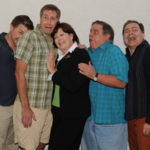 Tony Houck, Andy Collins, Melinda Gilb, Fred Harlow and Phil Johnson, the cast of She-Rantulas from Outer Space-in 3D! at Diversionary Theatre. Photo: Ken Jacques.